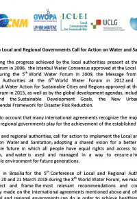 Brasilia	Local	and	Regional	Governments	Call	for	Action	on	Water and	Sanitation